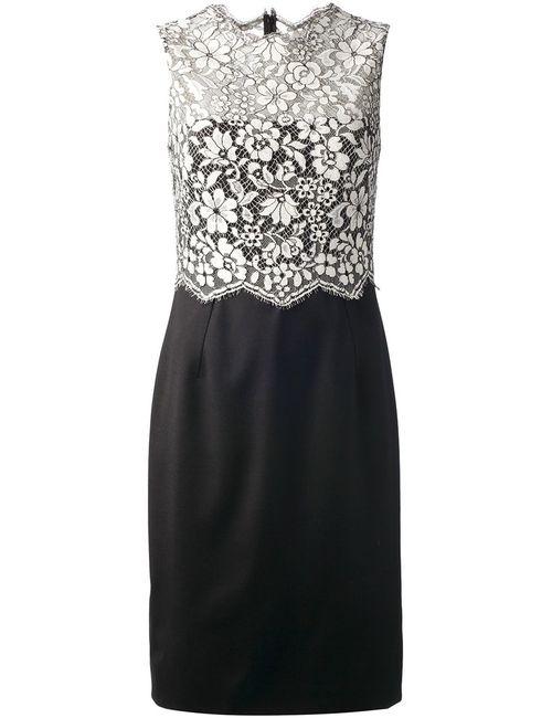 Valentino | Женское Чёрное Платье С Кружевным Цветочным Топом