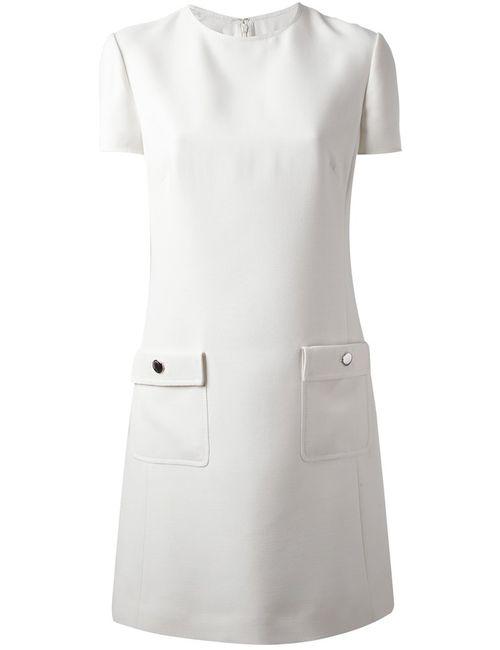 Valentino | Женское Белое Платье С Накладными Карманами