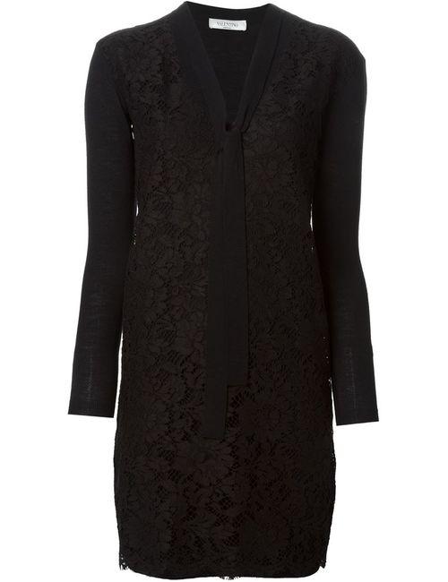 Valentino | Женское Черный Платье С Кружевной Панелью