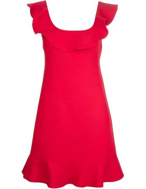 Valentino | Женское Красное Платье А-Силуэта С Оборками
