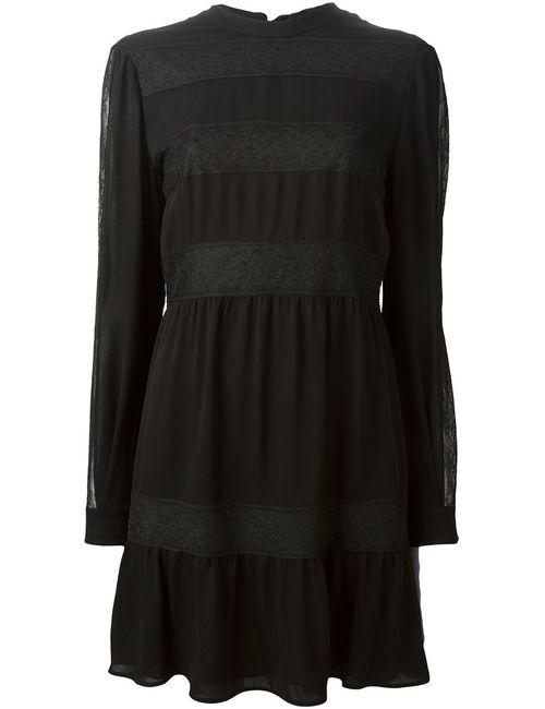 Valentino | Женское Чёрное Платье С Кружевными Вставками