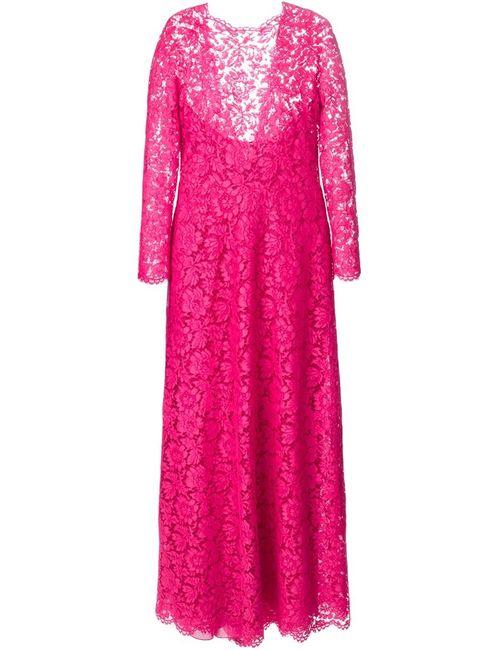 Valentino | Женское Розовое Вечернее Платье С Цветочной Вышивкой