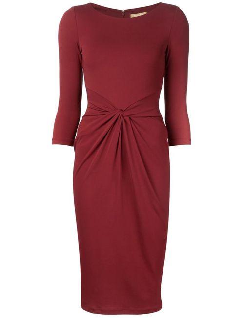 Michael Kors   Женское Красное Облегающее Платье С Перекрученной Деталью