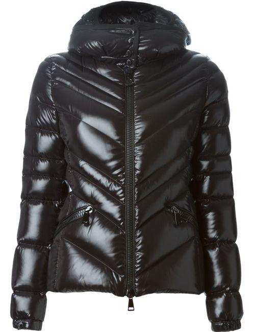 Moncler | Женская Чёрная Дутая Куртка С Капюшоном