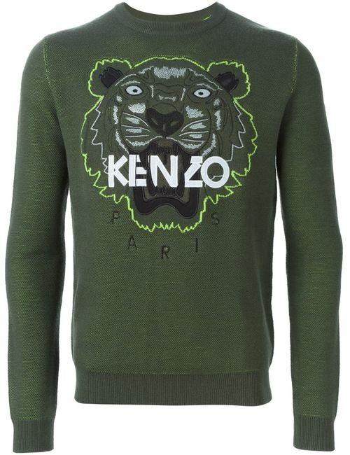 Kenzo   Мужская Зелёная Толстовка Tiger