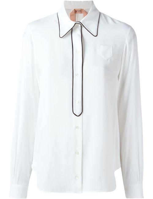 No21 | Женская Белая Рубашка С Контрастной Окантовкой