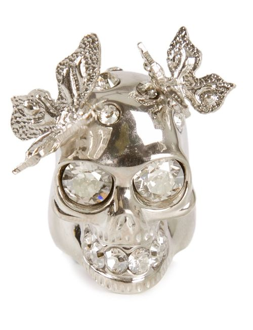 Alexander McQueen | Женское Серебристый Skull And Butterfly Cocktail Ring