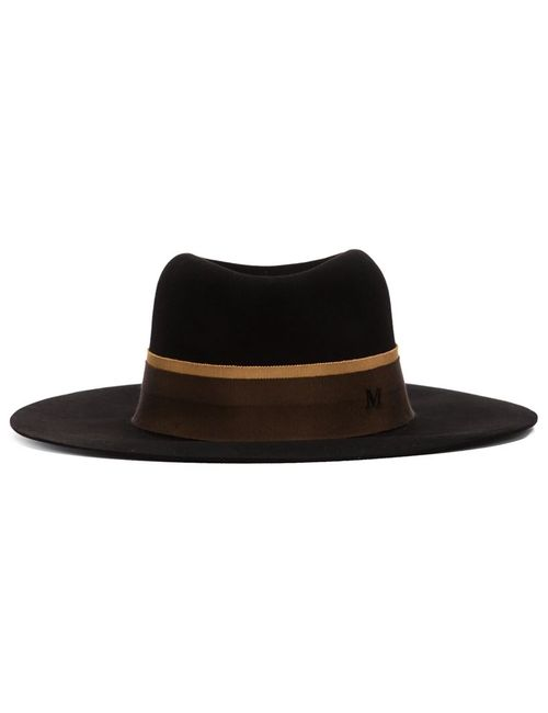 Maison Michel | Женская Чёрная Фетровая Шляпа С Широкими Полями