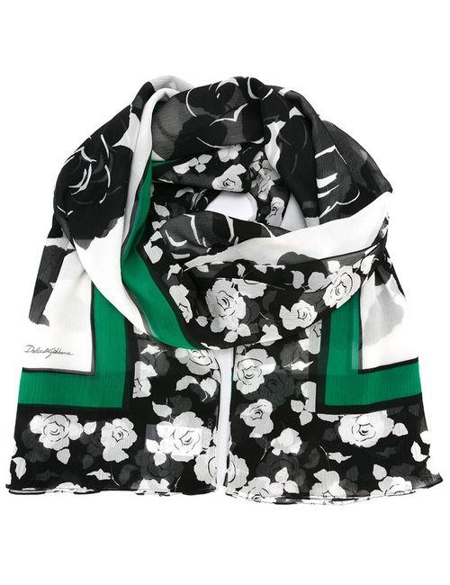 Dolce & Gabbana | Мужской Чёрный Шарф С Принтом Роз