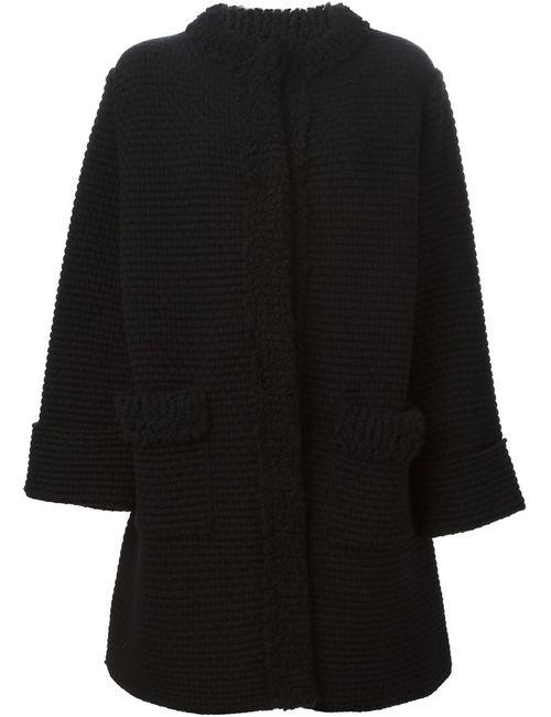 Dolce & Gabbana | Женское Чёрное Пальто С Круглым Вырезом