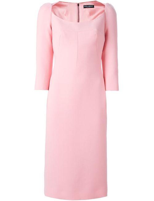 Dolce & Gabbana   Женское Розовое Платье С Глубоким Вырезом