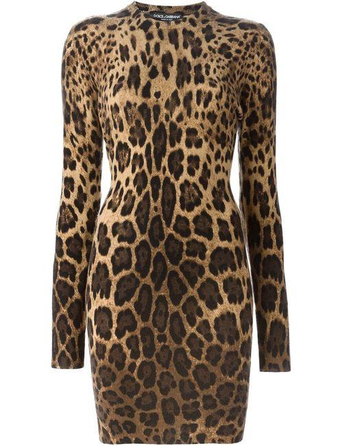 Dolce & Gabbana | Женское Nude & Neutrals Платье С Леопардовым Принтом