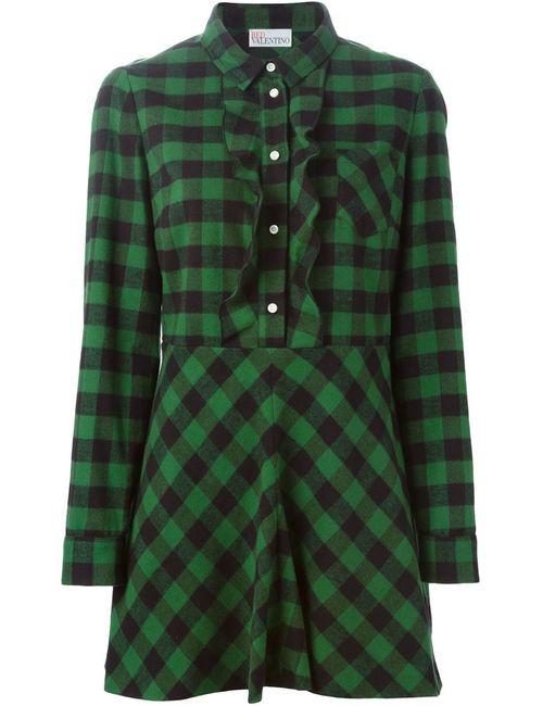 Red Valentino | Женское Зелёное Платье-Рубашка В Клетку