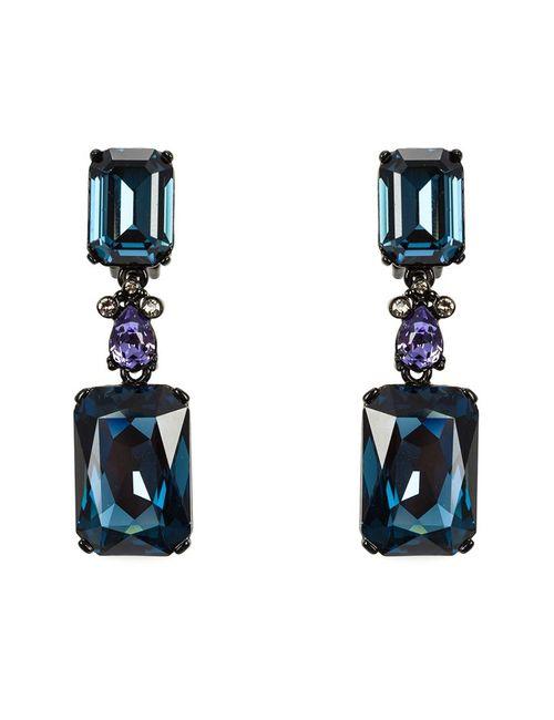 Oscar de la Renta | Женское Синий Large Octagon Stone Clip-On Earrings