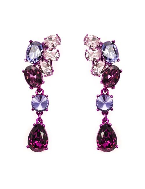Oscar de la Renta | Женское Розовый Asymmetric Crystal Clip Earrings