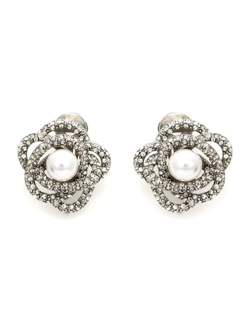 Oscar de la Renta | Женское Белый Flower Pearl Clip-On Earrings