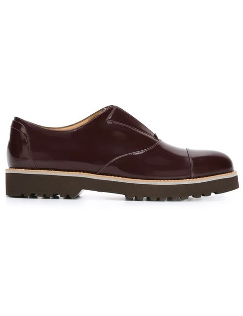 Hogan | Женское Красный Ridged Rubber Sole Loafers