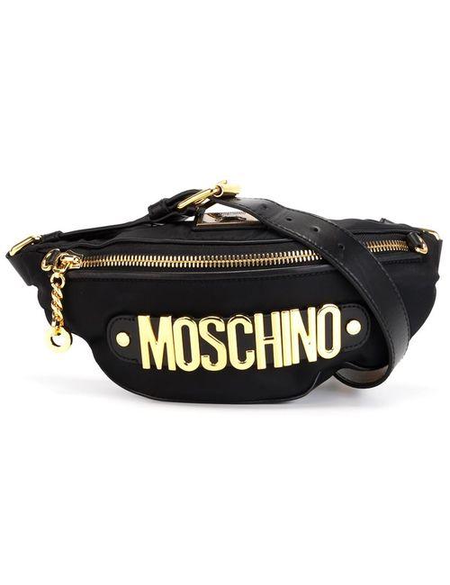 Moschino | Женская Чёрная Сумка-Пояс С Логотипом
