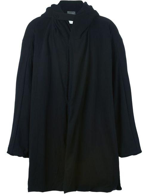 Yohji Yamamoto   Мужское Чёрное Пальто Мешковатого Кроя С Капюшоном