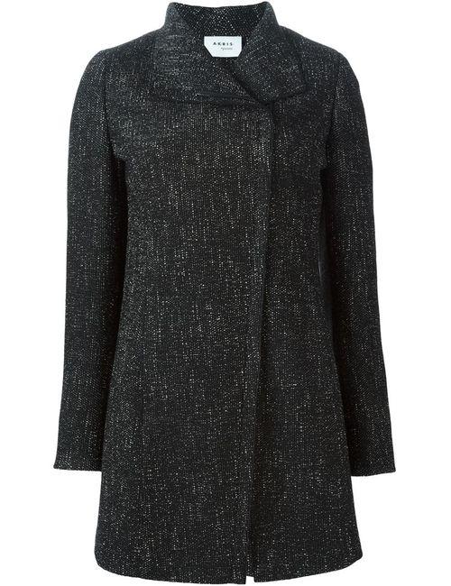 Akris | Женское Чёрное Твидовое Пальто На Молнии