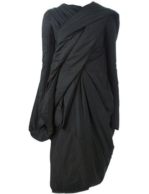 Rick Owens | Женское Чёрное Драпированное Пальто