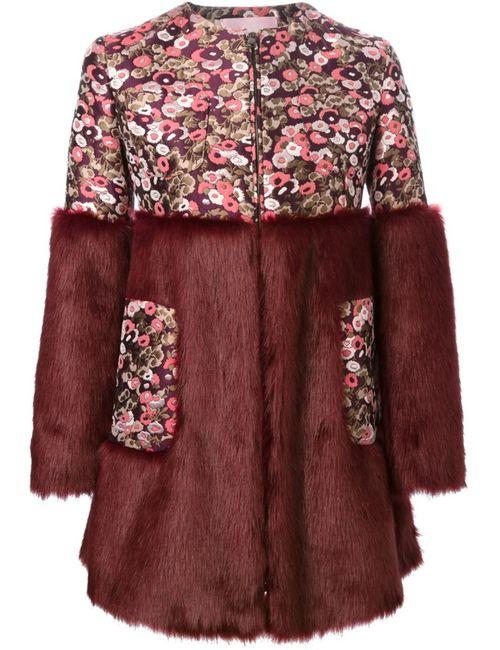 GIAMBA | Женское Красное Парчовое Пальто С Меховой Панелью