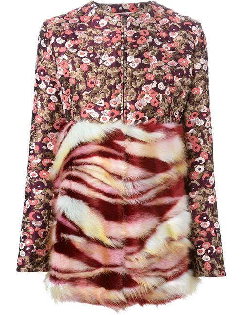 GIAMBA | Женское Многоцветное Парчовое Пальто С Меховой Панелью