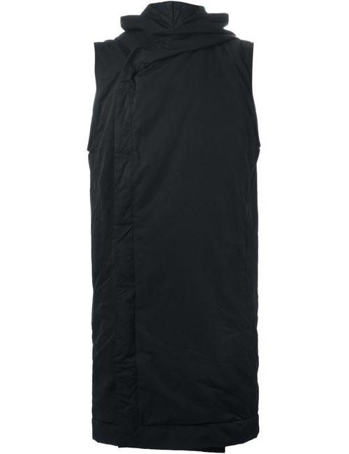 RICK OWENS DRKSHDW | Мужское Чёрное Пальто Без Рукавов С Капюшоном