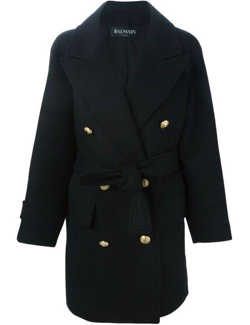 Balmain | Женское Чёрное Двубортное Пальто