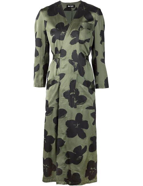 MIYAO | Женское Зелёное Длинное Пальто С Цветочным Принтом