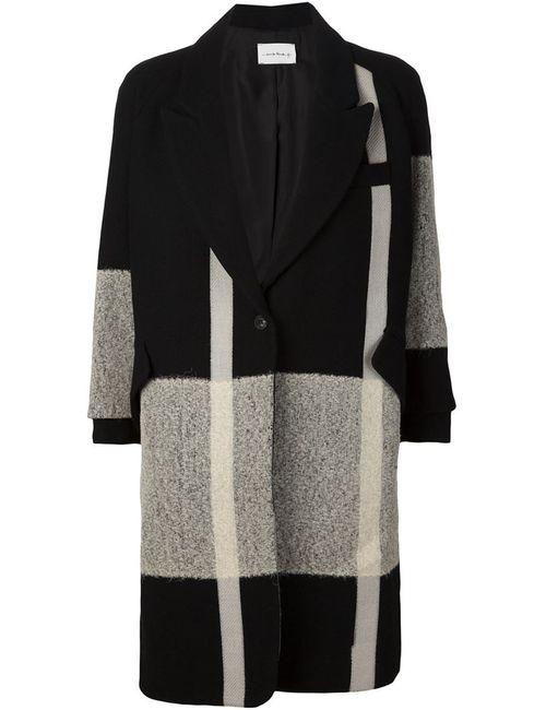 SONG FOR THE MUTE | Женское Чёрное Однобортное Пальто С Контрастными Панелями