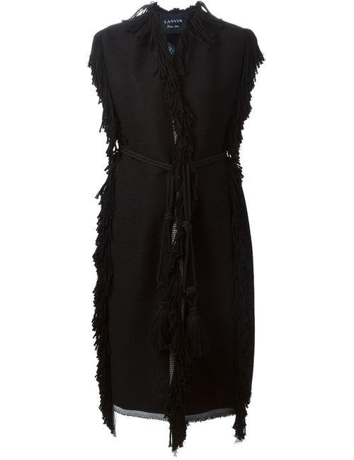 Lanvin   Женское Чёрное Пальто Без Рукавов С Бахромой