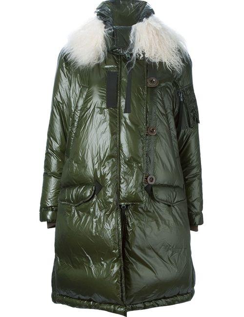 Sacai Luck | Женское Зелёный Lamb Fur Trim Padded Coat