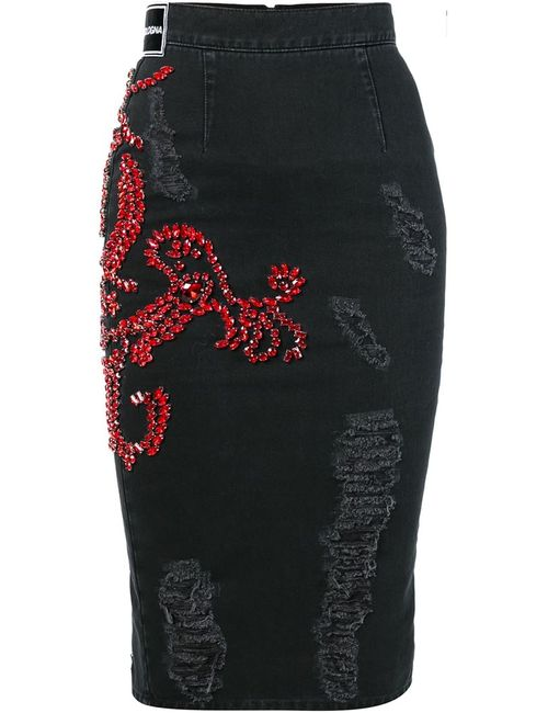 Marco Bologna | Женское Чёрный Embellished Pencil Denim Skirt