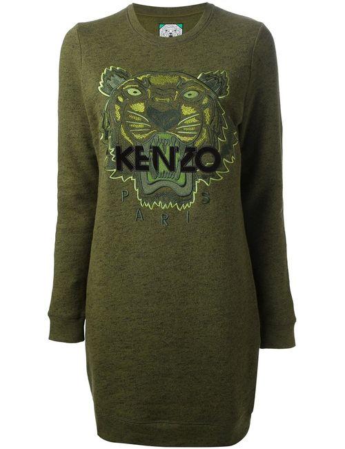 Kenzo | Женское Зелёное Платье-Свитер Tiger