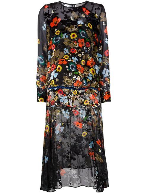 Preen By Thornton Bregazzi | Женское Чёрное Платье С Маками И Неравномерным Подолом