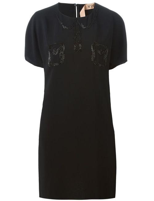 No21 | Женское Чёрное Платье С Вышивкой Бисером