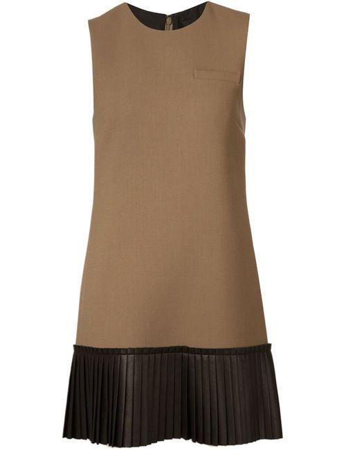 Vera Wang | Женское Коричневый Pleated Hem Shift Dress