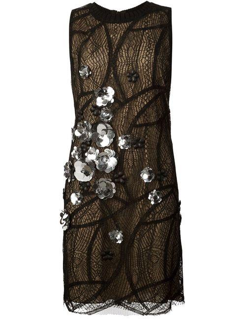 Vera Wang   Женское Чёрный Embellished Layered Lace Dress