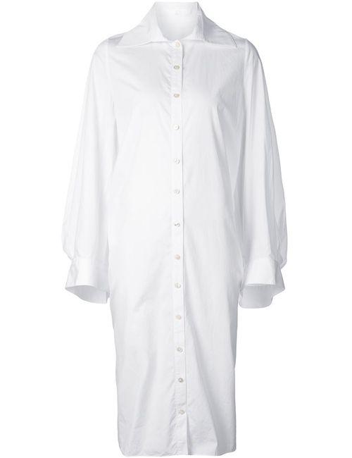 AUDRA | Женское Белое Платье-Рубашка Свободного Кроя