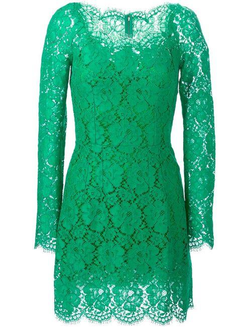 Dolce & Gabbana | Женское Зелёное Платье Из Цветочного Кружева