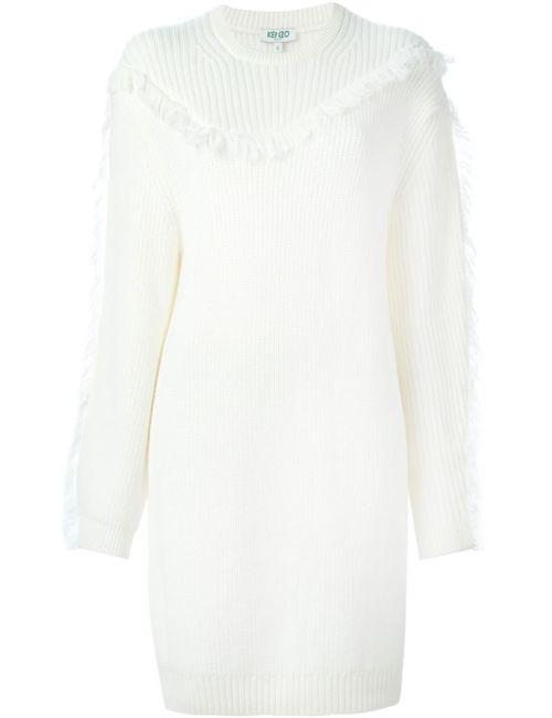 Kenzo | Женское Белый Fringed Sweater Dress