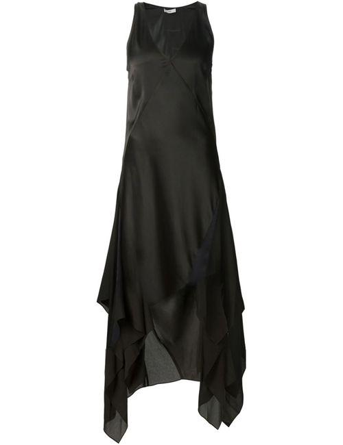 TOME   Женское Чёрное Асимметричное Платье С V-Образным Вырезом