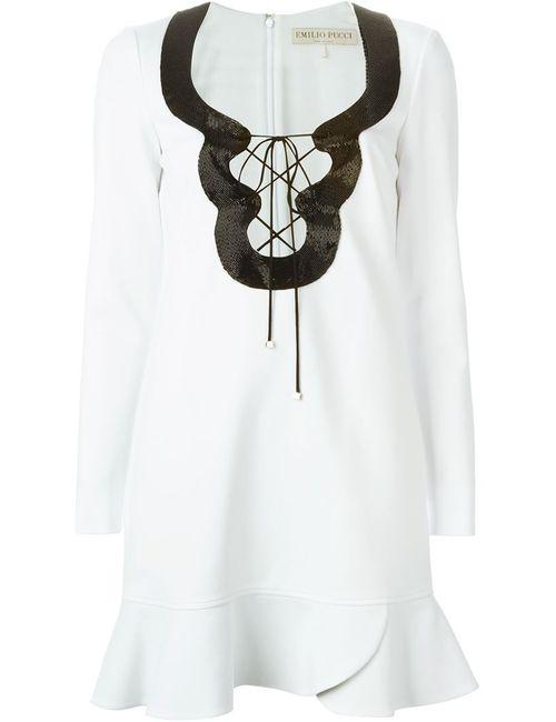 Emilio Pucci | Женское Белое Платье С Декорированным Вырезом На Шнуровке