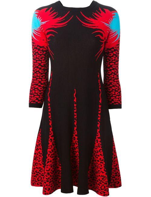 Marco Bologna | Женское Черный Расклешенное Платье С Леопардовым Узором-Интарсией