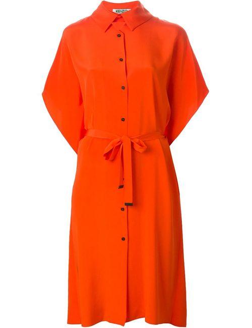 Kenzo   Женское Жёлтое Платье-Рубашка С Завязкой На Поясе
