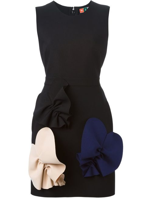MSGM | Женское Чёрное Облегающее Платье С Контрастными Деталями