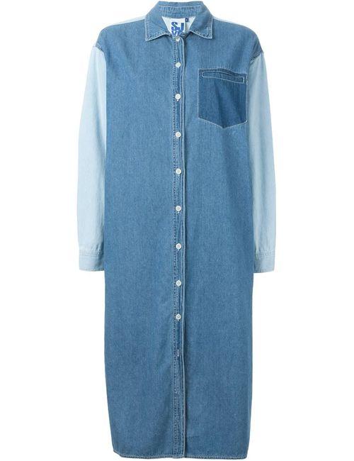Steve J & Yoni P | Женское Синее Джинсовое Платье-Рубашка
