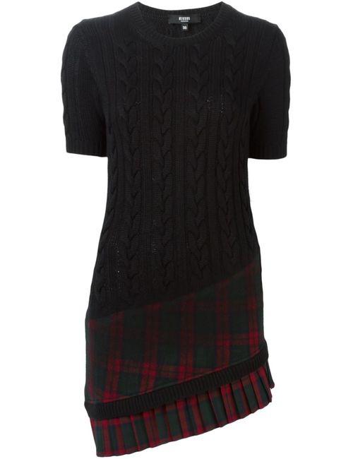 Versus | Женское Чёрное Платье Вязки Косичкой С Клетчатым Подолом
