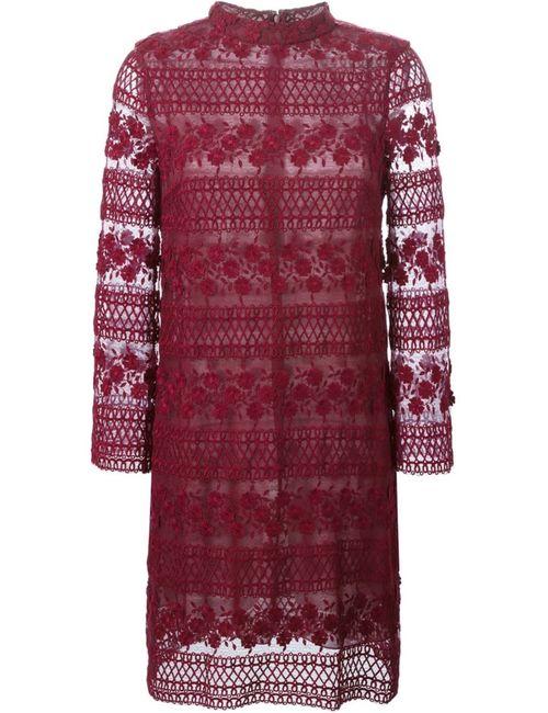 GIAMBA   Женское Красное Кружевное Платье С Длинными Рукавами